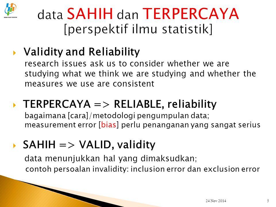data SAHIH dan TERPERCAYA [perspektif ilmu statistik]